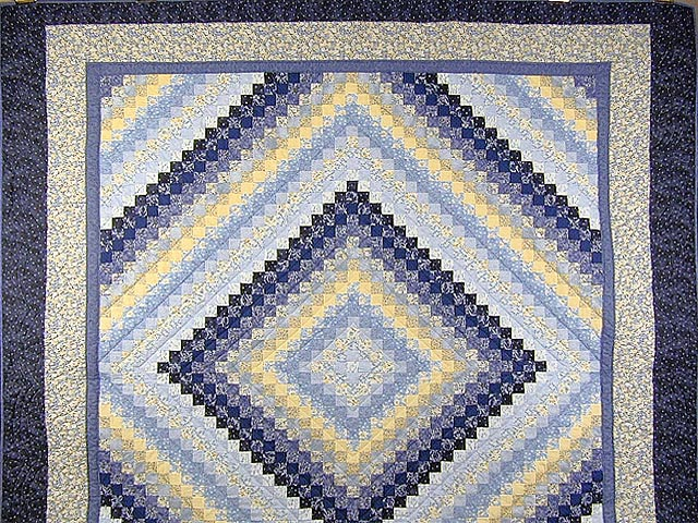 Blue and Yellow Trip Around the World Quilt Photo 2