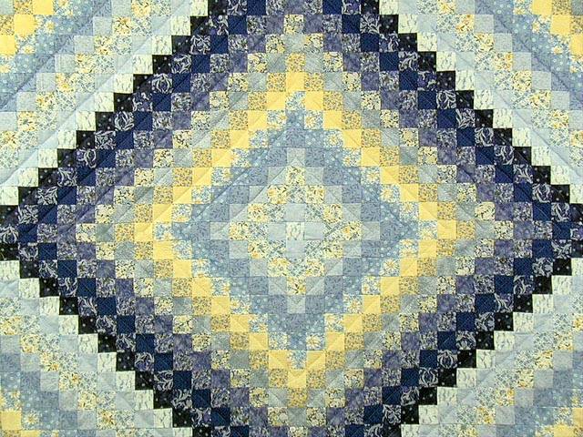 Blue and Yellow Trip Around the World Quilt Photo 3