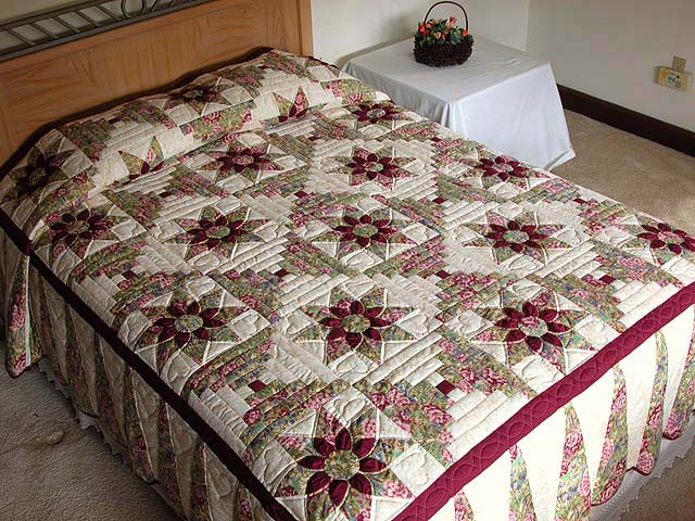 Sage And Maroon Dahlia Log Cabin Quilt