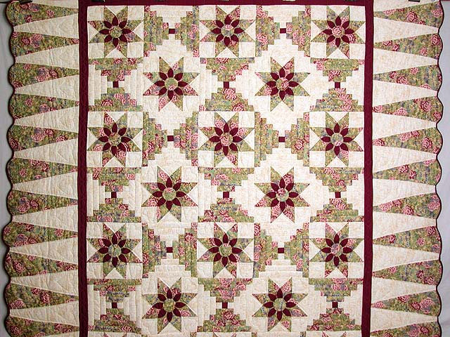 Sage and Maroon Dahlia Log Cabin Quilt Photo 2