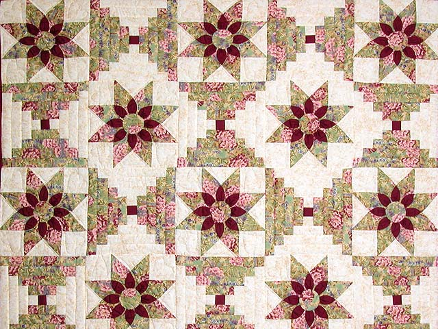 Sage and Maroon Dahlia Log Cabin Quilt Photo 3