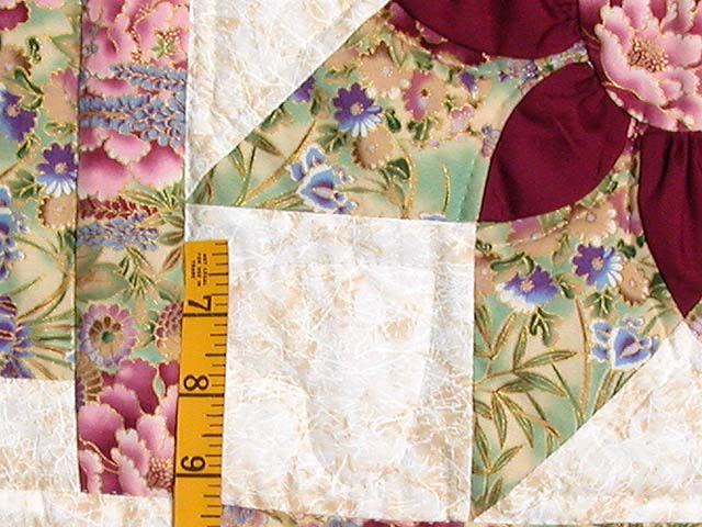 Sage and Maroon Dahlia Log Cabin Quilt Photo 5