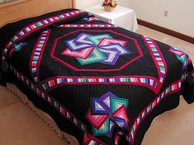 Black Background Star Spin Quilt Photo 1