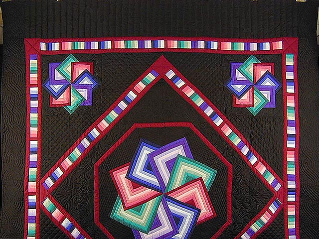 Black Background Star Spin Quilt Photo 2