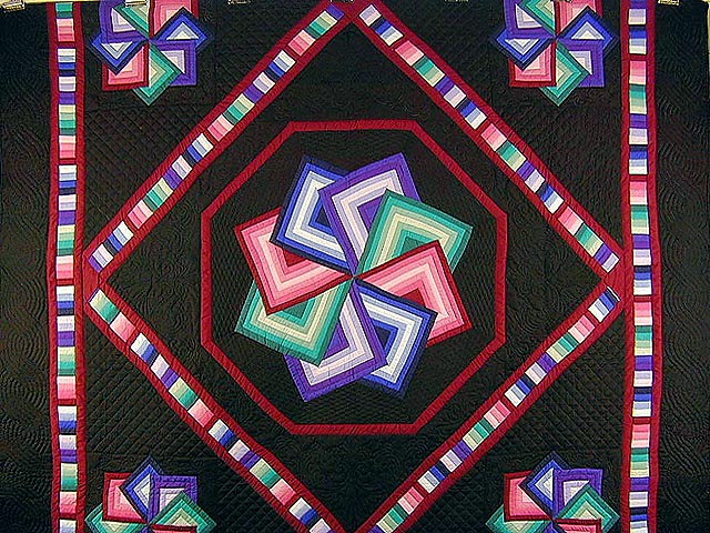 Black Background Star Spin Quilt Photo 3