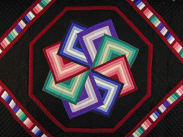 Black Background Star Spin Quilt Photo 4
