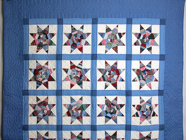 Blue Remnants Stars Patchwork Quilt Photo 2
