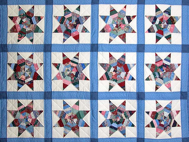 Blue Remnants Stars Patchwork Quilt Photo 3