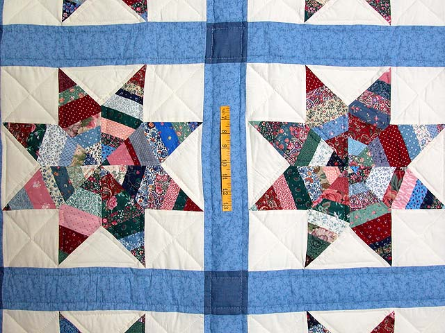 Blue Remnants Stars Patchwork Quilt Photo 4