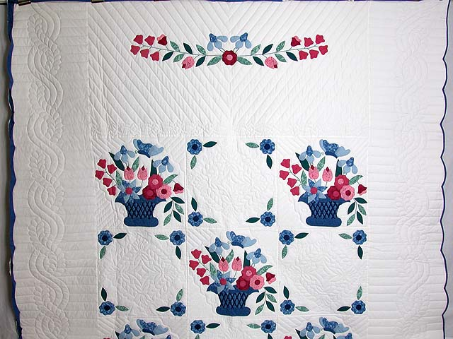 Blue and Rose Garden Baskets Quilt Photo 2