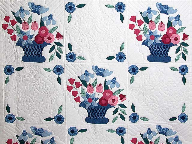 Blue and Rose Garden Baskets Quilt Photo 3