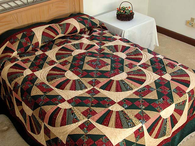 Burgundy Green And Multi Jacobs Ladder Fan Quilt