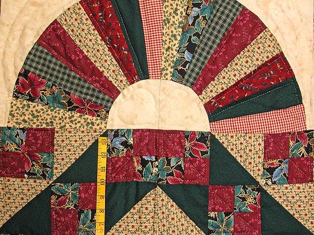 Burgundy Green and Multi Jacobs Ladder Fan Quilt Photo 4