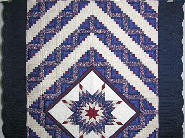 Navy Burgundy and Rose Lone Star Log Cabin Quilt Photo 2
