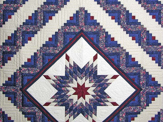 Navy Burgundy and Rose Lone Star Log Cabin Quilt Photo 3