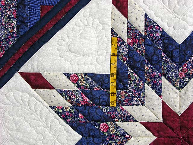 Navy Burgundy And Rose Lone Star Log Cabin Quilt Photo 4