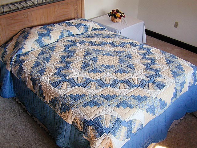 Blue and Yellow Cream Fan Log Cabin Quilt Photo 1