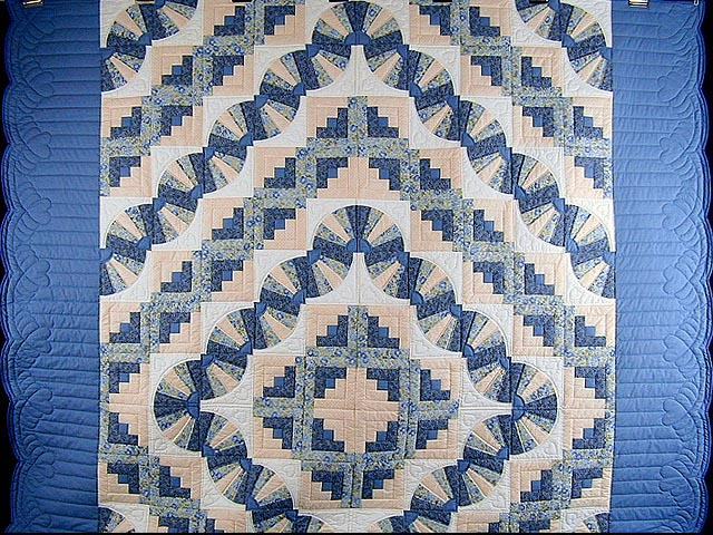 Blue and Yellow Cream Fan Log Cabin Quilt Photo 2
