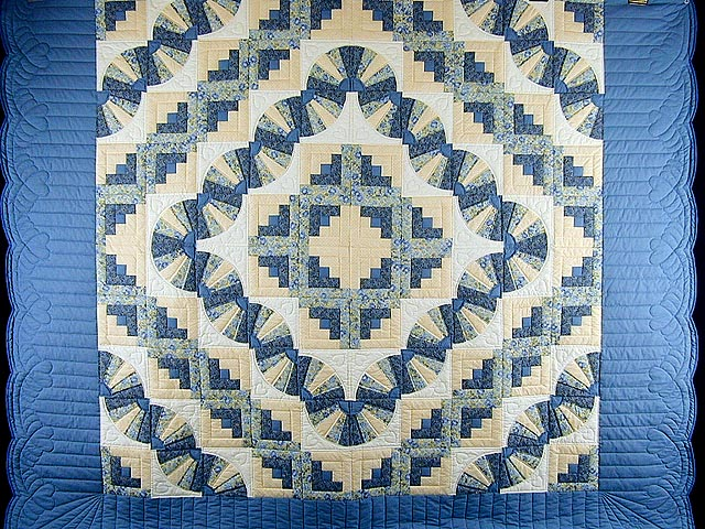 Blue and Yellow Cream Fan Log Cabin Quilt Photo 3