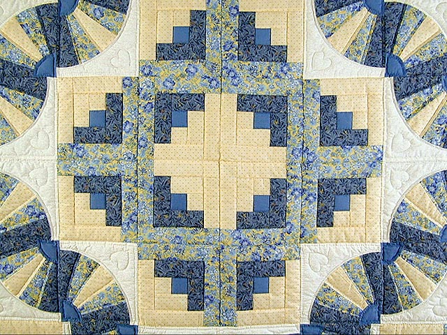 Blue and Yellow Cream Fan Log Cabin Quilt Photo 4