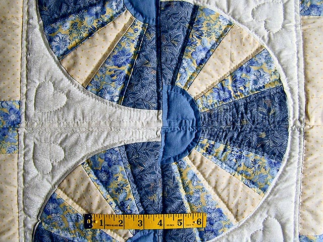 Blue and Yellow Cream Fan Log Cabin Quilt Photo 5