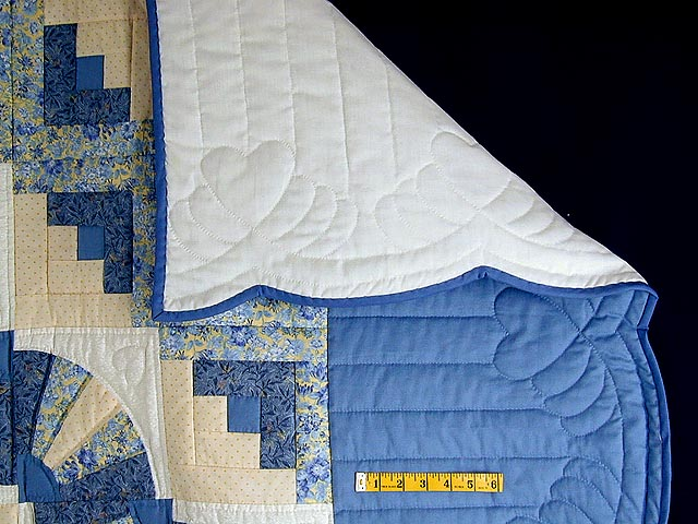 Blue and Yellow Cream Fan Log Cabin Quilt Photo 7