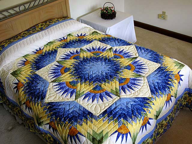 Blue and Yellow Compass Star Quilt Photo 1