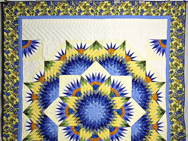 Blue and Yellow Compass Star Quilt Photo 2