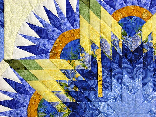 Blue and Yellow Compass Star Quilt Photo 4
