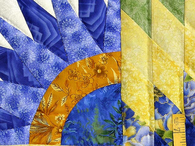 Blue and Yellow Compass Star Quilt Photo 5