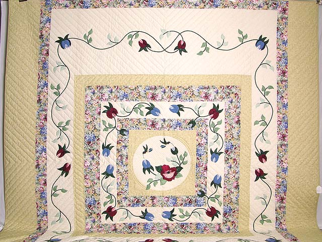 King Rose Cream and Tan I Promised You a Rose Garden Quilt Photo 2