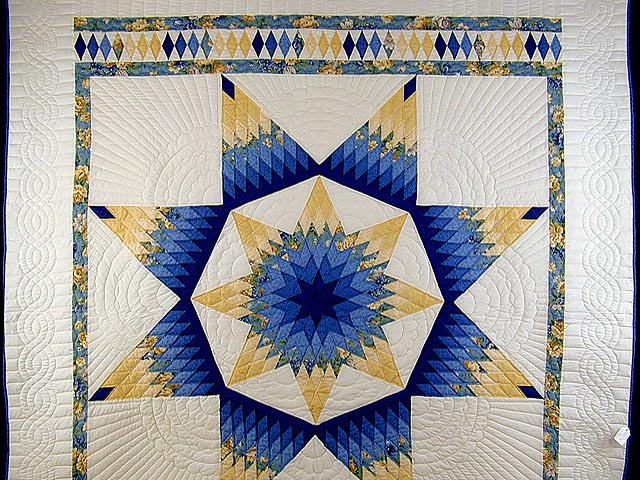 Blue And Yellow Alabama Star Quilt Photo 2
