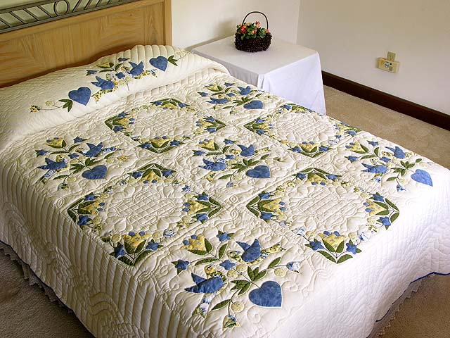 Blue and Yellow Love Dove Album Quilt Photo 1