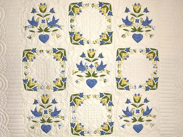 Blue and Yellow Love Dove Album Quilt Photo 3