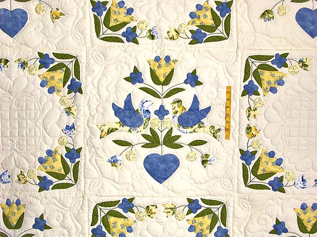 Blue and Yellow Love Dove Album Quilt Photo 4