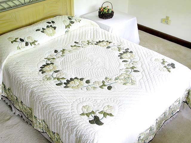 Soft Green Tan and Neutrals Heart of Roses Quilt Photo 1