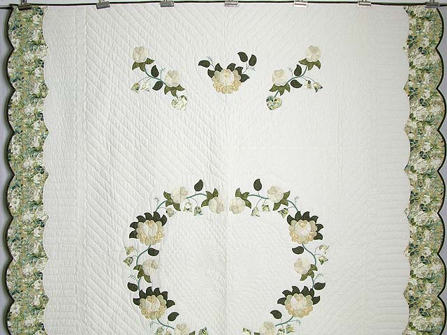 Soft Green Tan and Neutrals Heart of Roses Quilt Photo 2