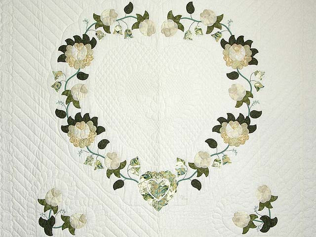 Soft Green Tan and Neutrals Heart of Roses Quilt Photo 3