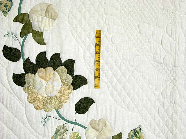 Soft Green Tan and Neutrals Heart of Roses Quilt Photo 4