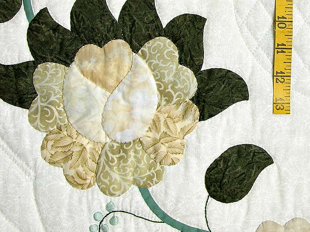 Soft Green Tan and Neutrals Heart of Roses Quilt Photo 5