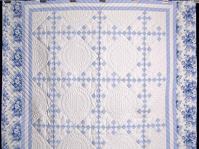 Pastel Blue and Ivory Nine Patch Quilt Photo 2