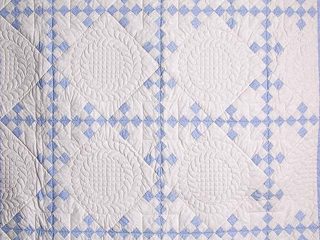 Pastel Blue and Ivory Nine Patch Quilt Photo 3