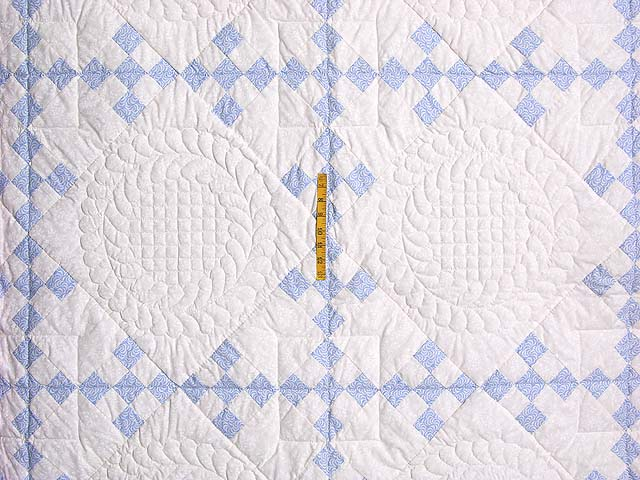 Pastel Blue and Ivory Nine Patch Quilt Photo 4
