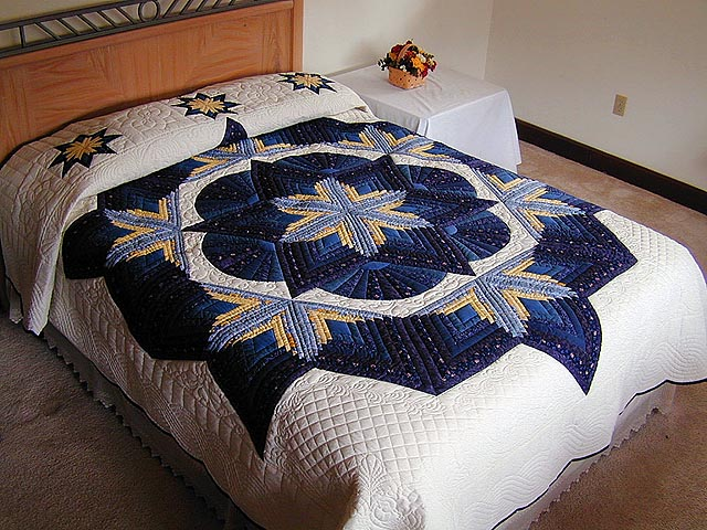 Blue and Yellow Diamond Star Fan Quilt Photo 1