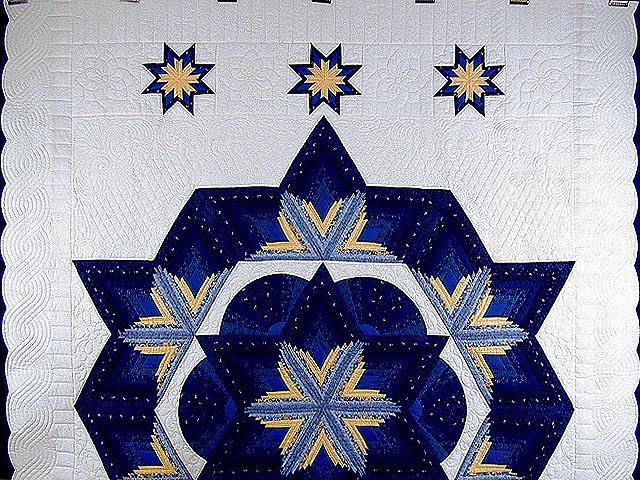 Blue and Yellow Diamond Star Fan Quilt Photo 2