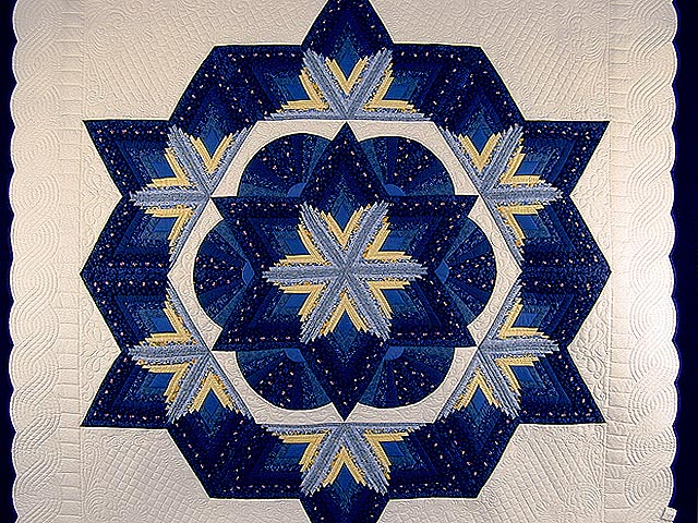 Blue and Yellow Diamond Star Fan Quilt Photo 3
