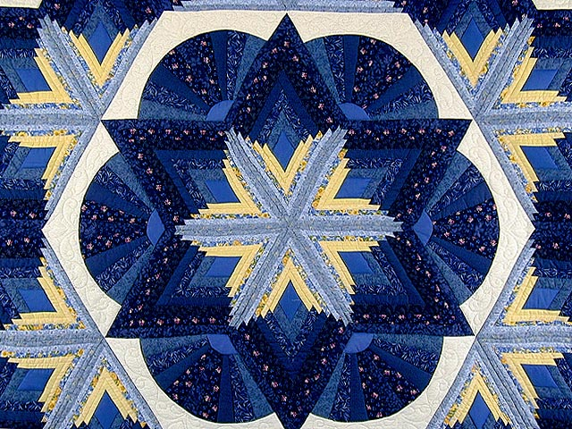 Blue and Yellow Diamond Star Fan Quilt Photo 4
