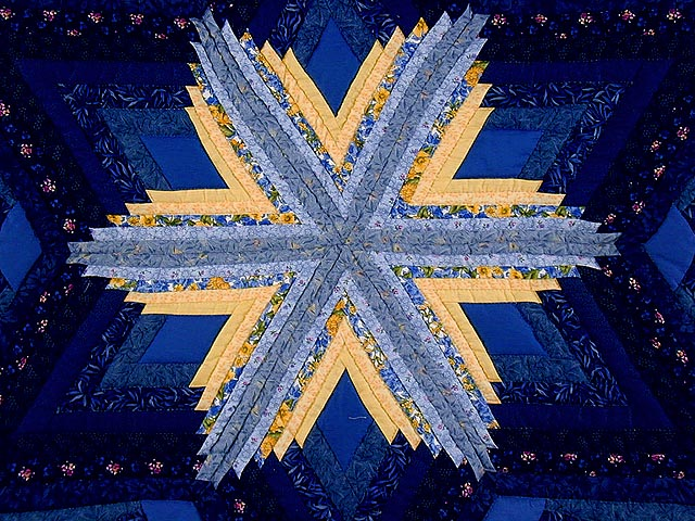 Blue and Yellow Diamond Star Fan Quilt Photo 5
