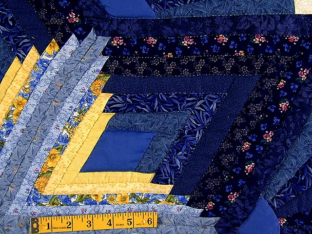 Blue and Yellow Diamond Star Fan Quilt Photo 6