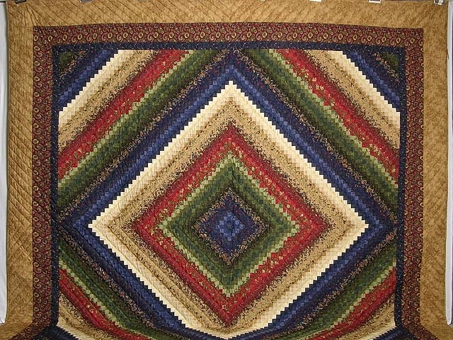 King Wheat Burgundy Navy & Green Postage Stamp Quilt Photo 2